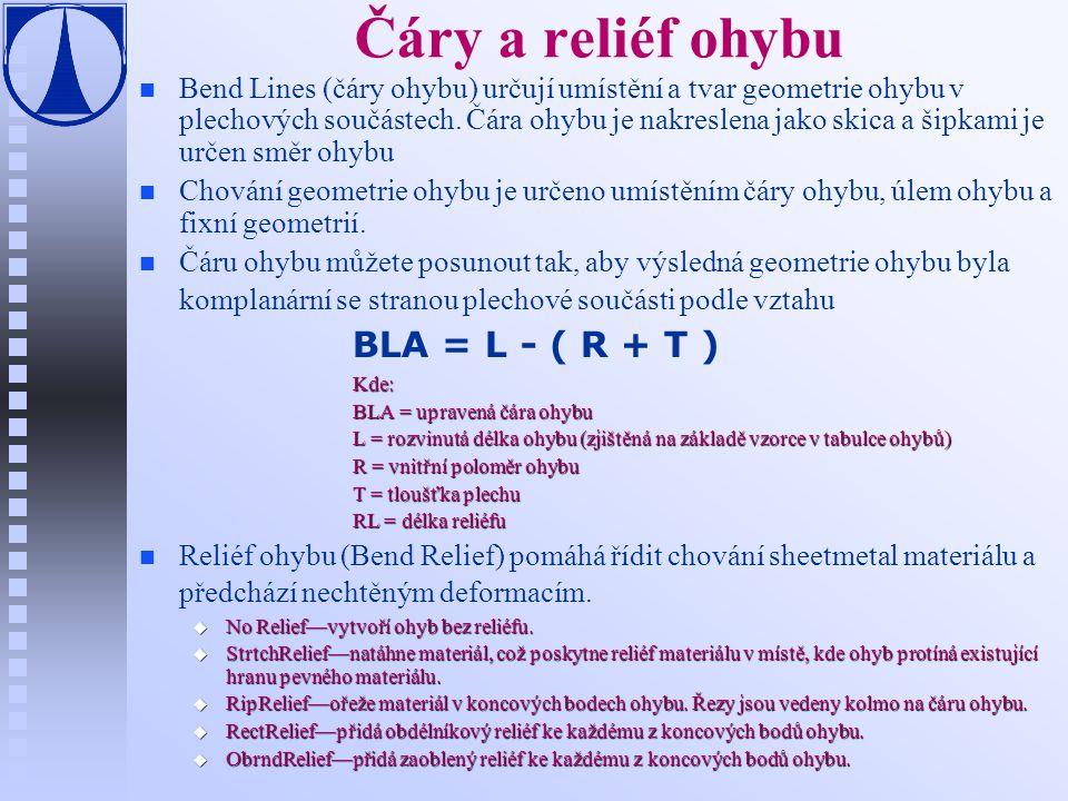 Čáry a reliéf ohybu BLA = L - ( R + T )