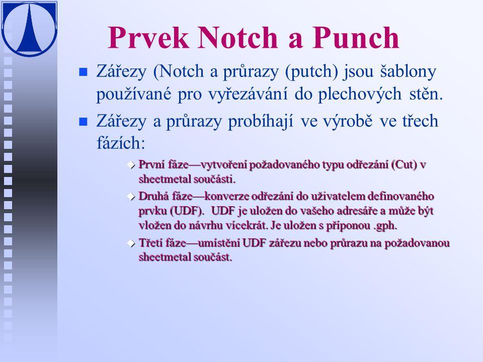 Prvek Notch a Punch Zářezy (Notch a průrazy (putch) jsou šablony používané pro vyřezávání do plechových stěn.