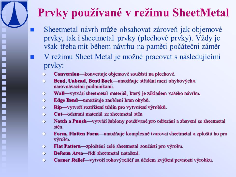 Prvky používané v režimu SheetMetal