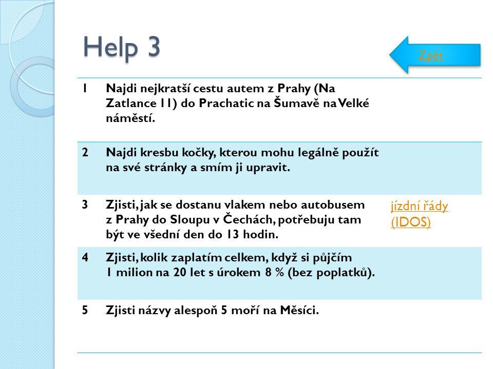Help 3 jízdní řády (IDOS) Zpět 1