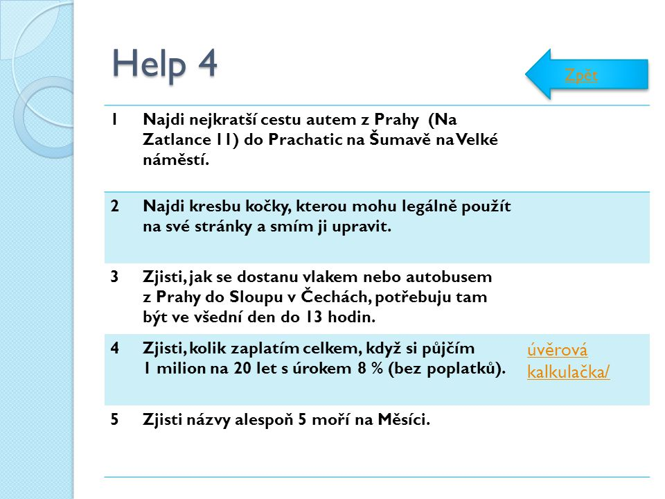Help 4 úvěrová kalkulačka/ Zpět 1