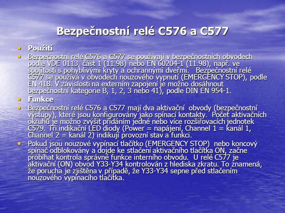 Bezpečnostní relé C576 a C577 Použití