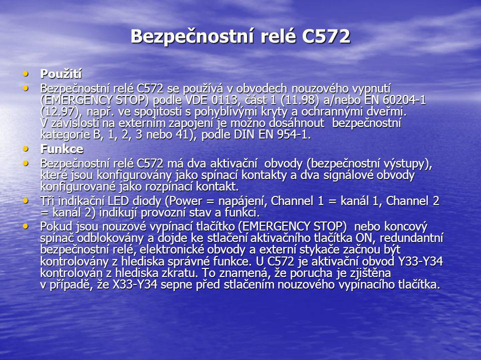 Bezpečnostní relé C572 Použití