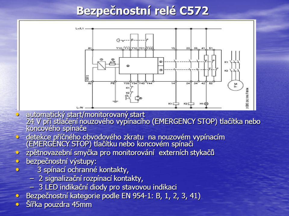 Bezpečnostní relé C572 automatický start/monitorovaný start 24 V při stlačení nouzového vypínacího (EMERGENCY STOP) tlačítka nebo koncového spínače.