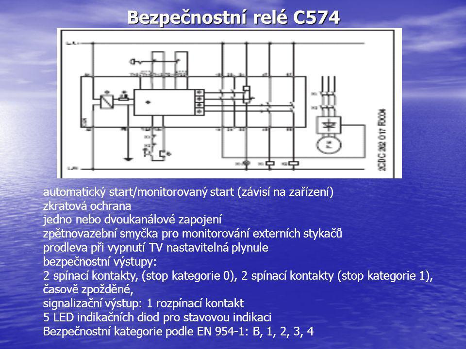 Bezpečnostní relé C574 automatický start/monitorovaný start (závisí na zařízení) zkratová ochrana.