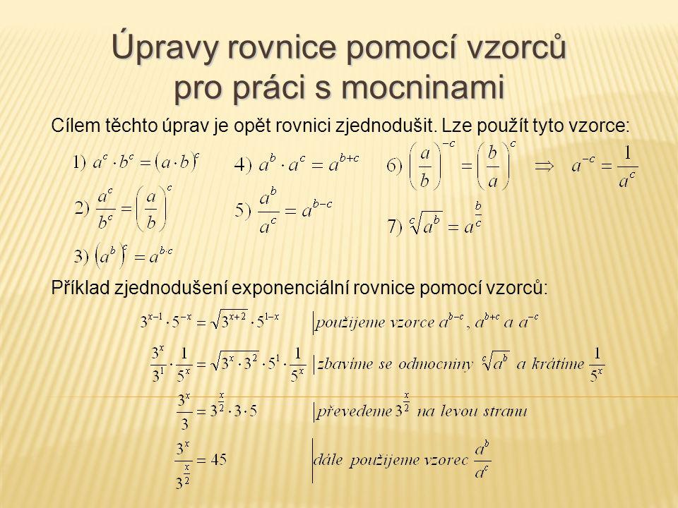 Úpravy rovnice pomocí vzorců pro práci s mocninami