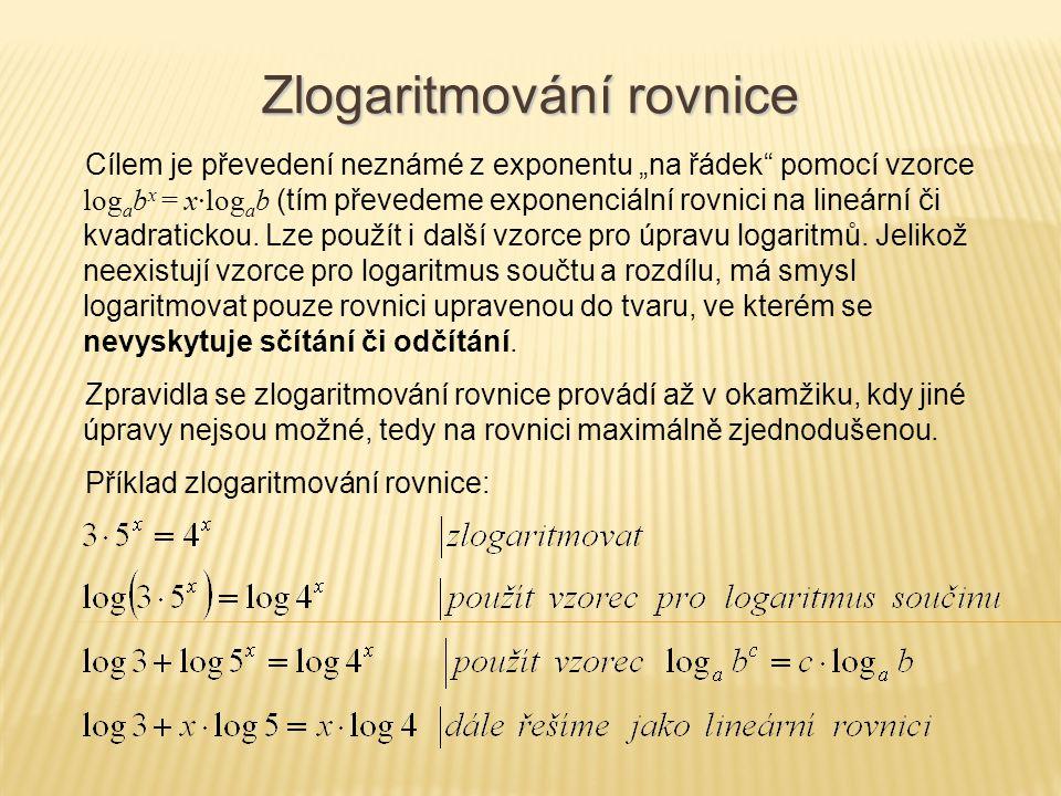 Zlogaritmování rovnice