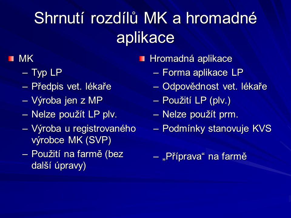 Shrnutí rozdílů MK a hromadné aplikace