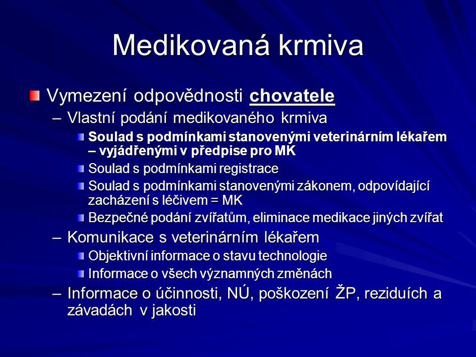 Medikovaná krmiva Vymezení odpovědnosti chovatele