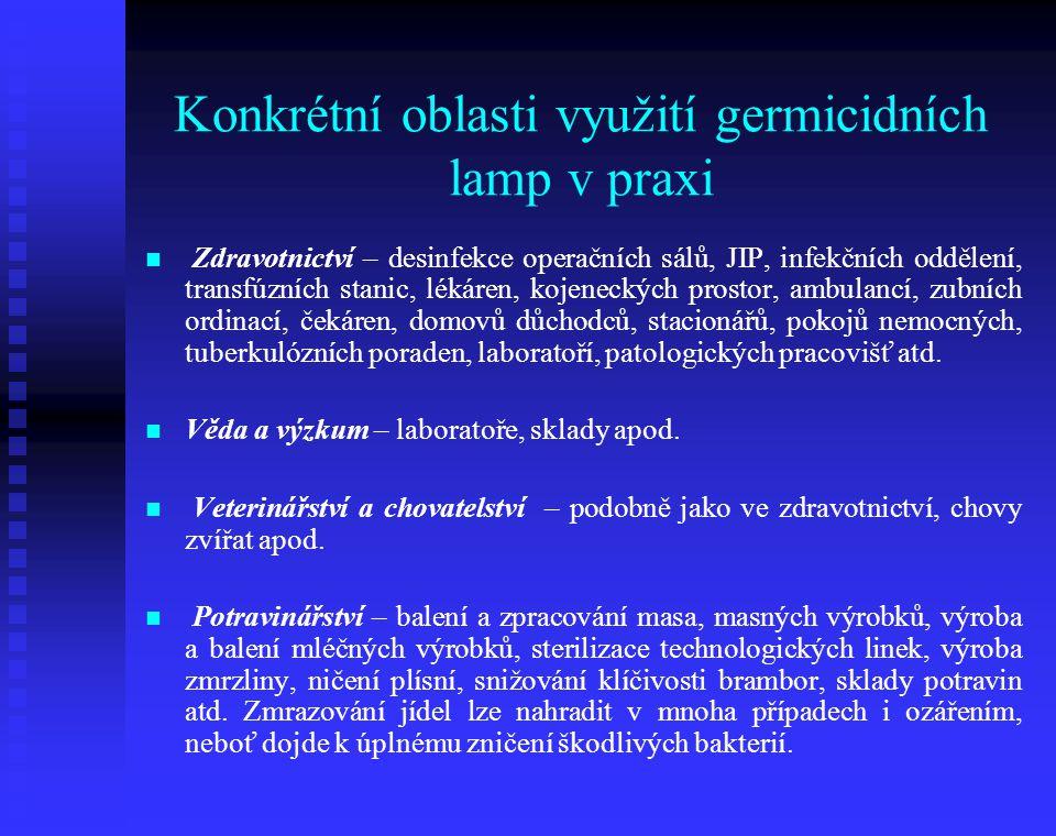 Konkrétní oblasti využití germicidních lamp v praxi