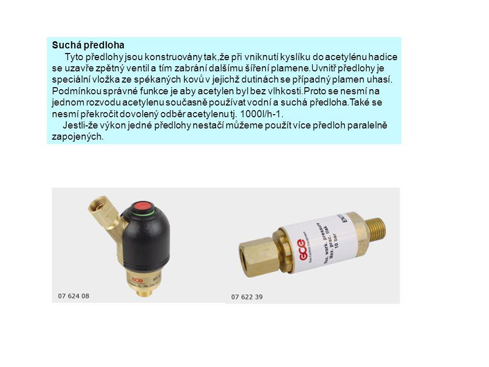 Suchá předloha Tyto předlohy jsou konstruovány tak,že při vniknutí kyslíku do acetylénu hadice.