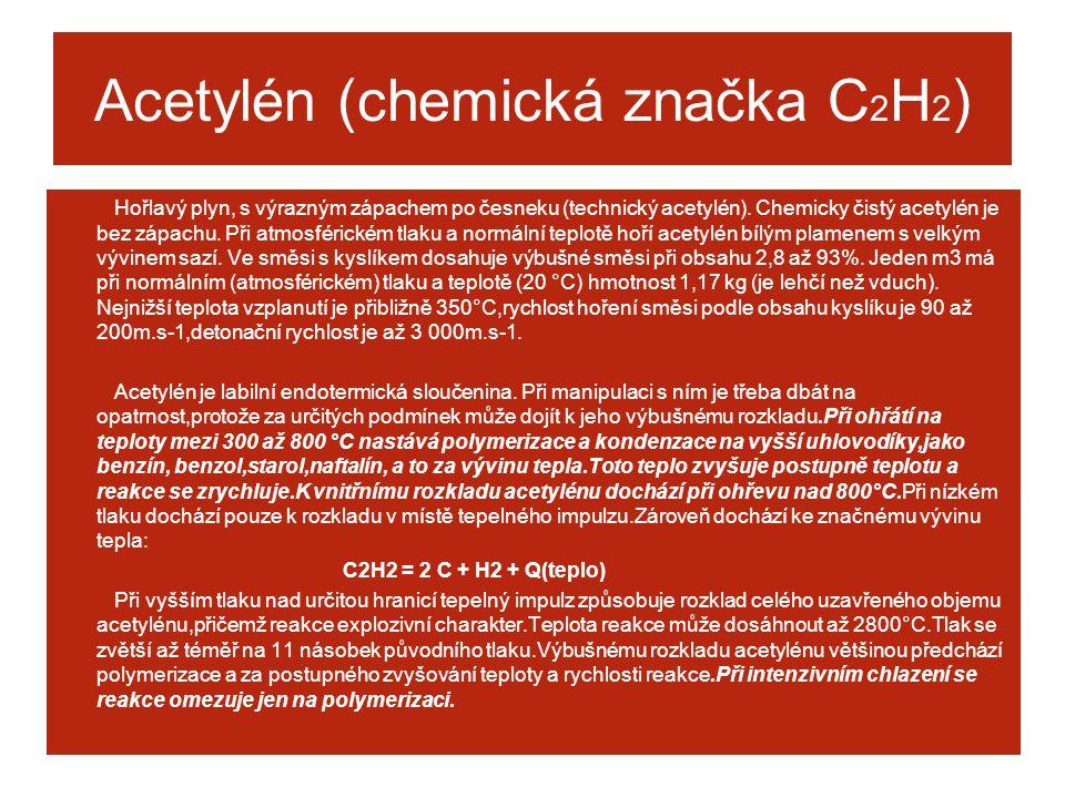 Acetylén (chemická značka C2H2)