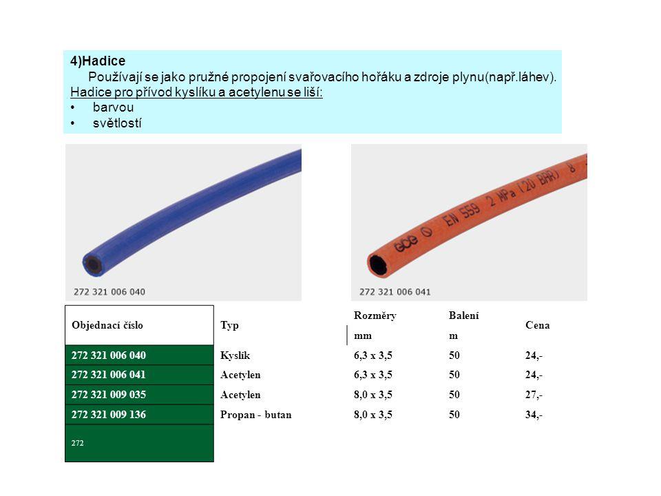 Hadice pro přívod kyslíku a acetylenu se liší: barvou světlostí