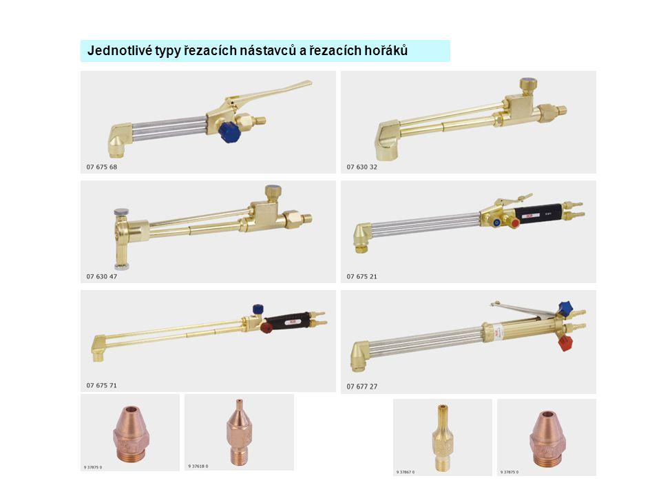 Jednotlivé typy řezacích nástavců a řezacích hořáků