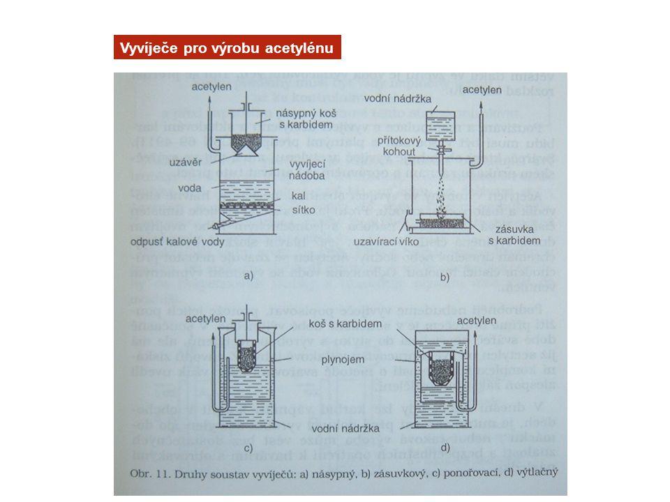Vyvíječe pro výrobu acetylénu