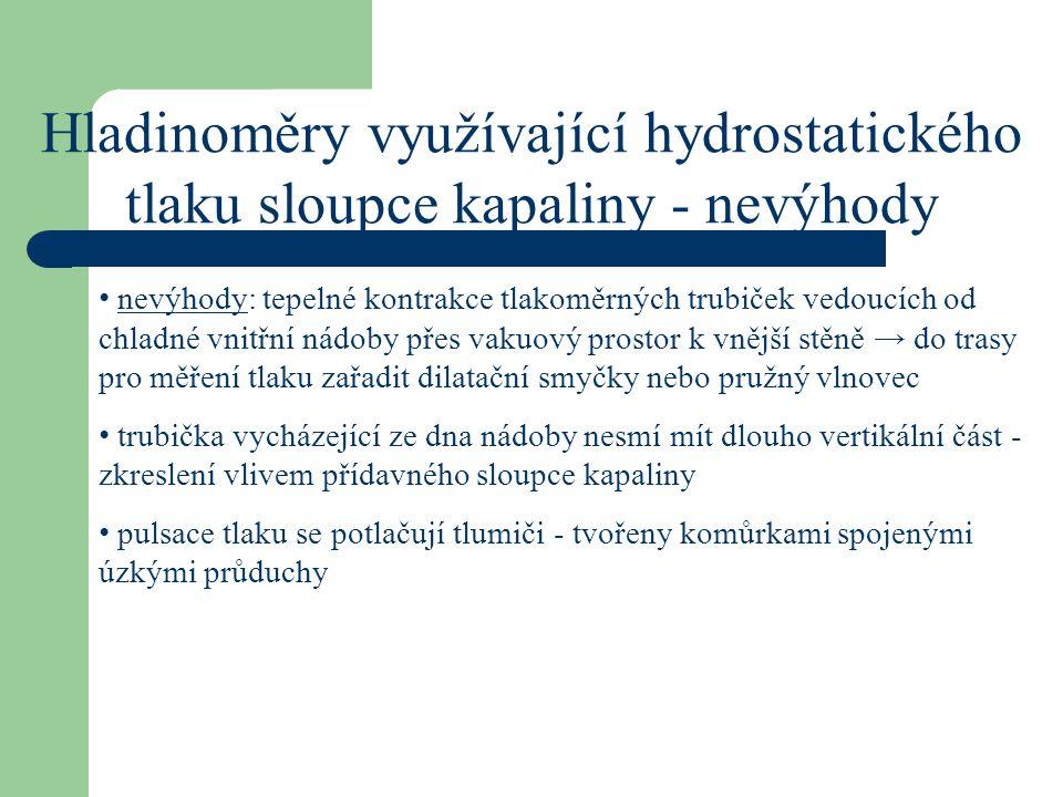Hladinoměry využívající hydrostatického tlaku sloupce kapaliny - nevýhody