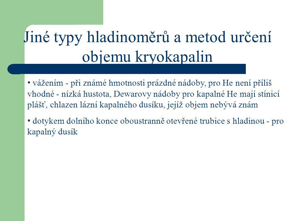 Jiné typy hladinoměrů a metod určení objemu kryokapalin