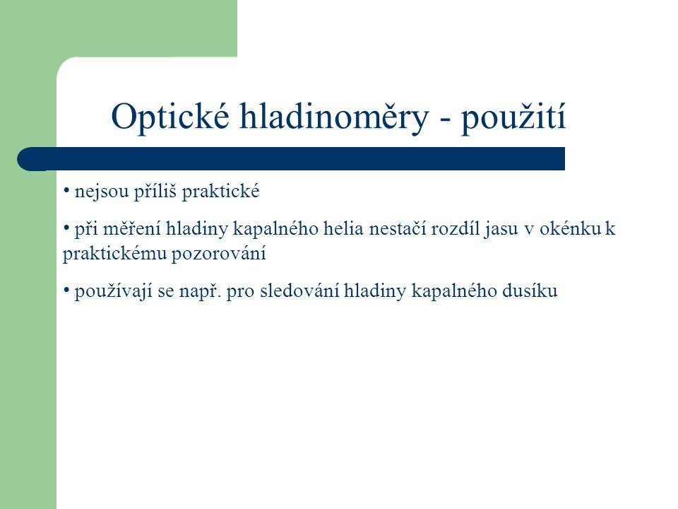 Optické hladinoměry - použití