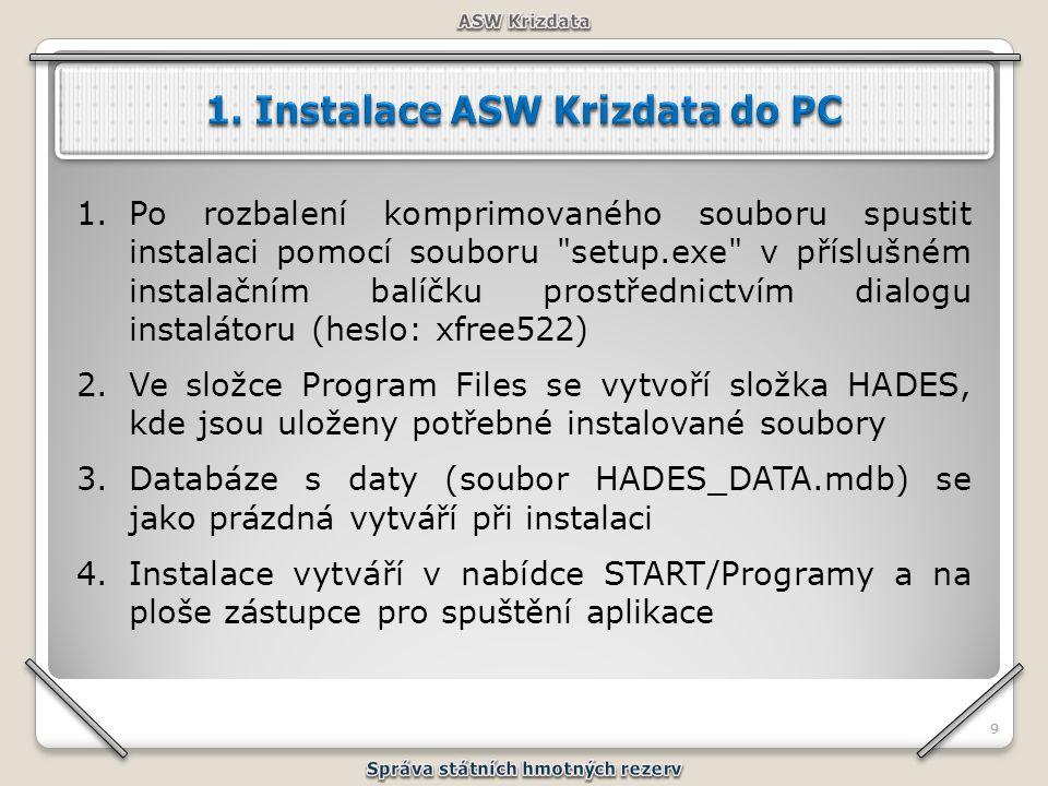 1. Instalace ASW Krizdata do PC Správa státních hmotných rezerv