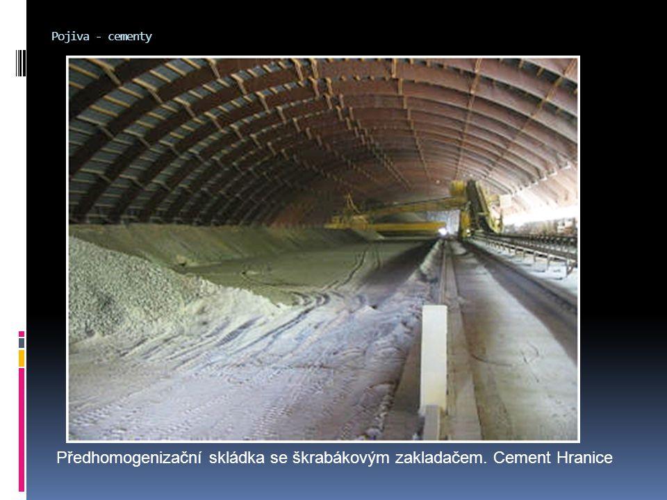 Předhomogenizační skládka se škrabákovým zakladačem. Cement Hranice