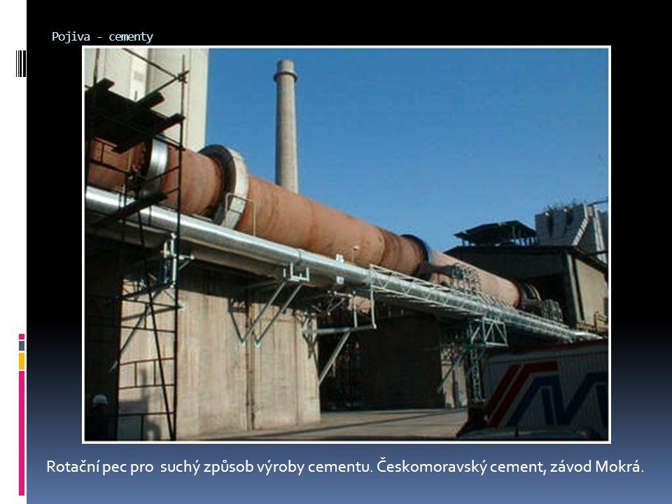 Pojiva - cementy Rotační pec pro suchý způsob výroby cementu. Českomoravský cement, závod Mokrá.