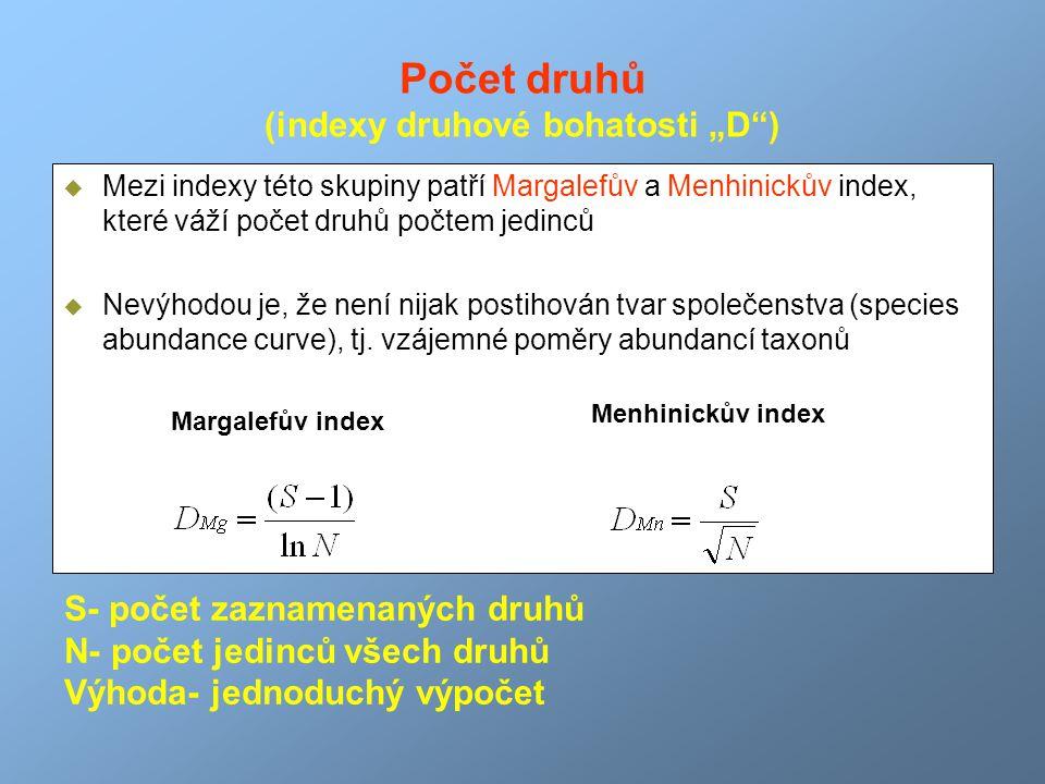 """Počet druhů (indexy druhové bohatosti """"D )"""
