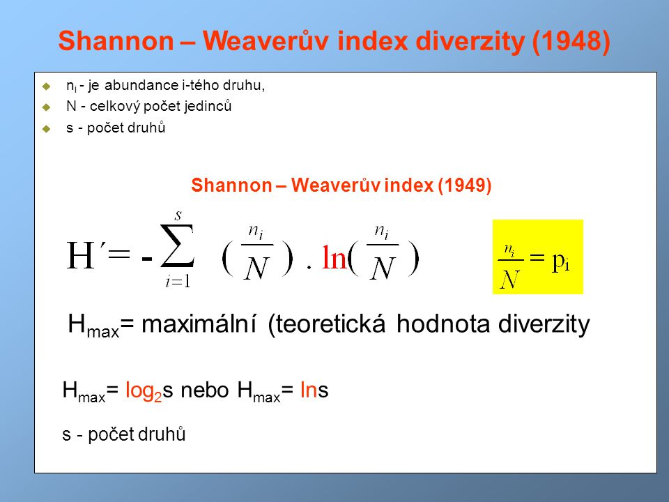 Shannon – Weaverův index diverzity (1948)