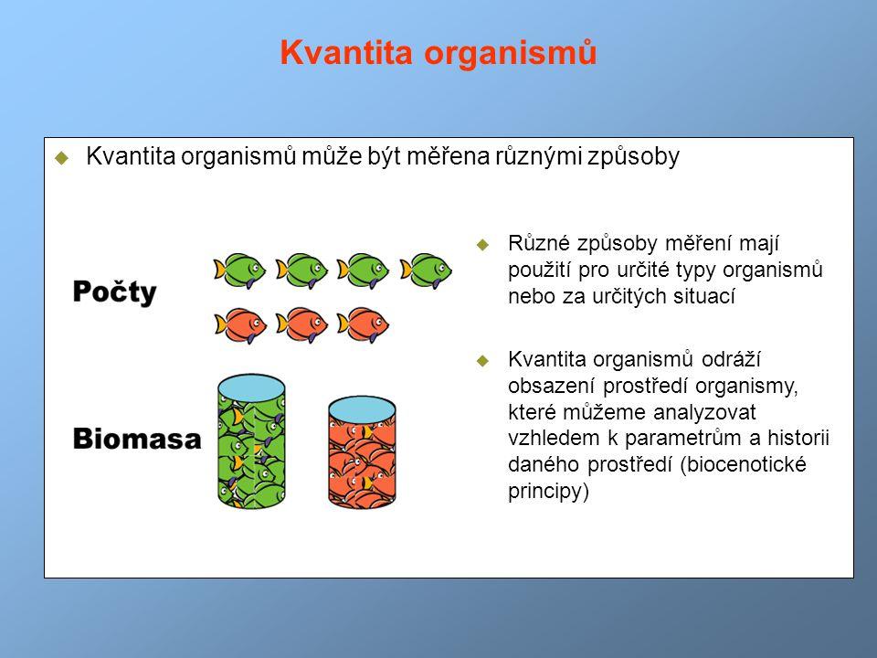 Kvantita organismů Kvantita organismů může být měřena různými způsoby