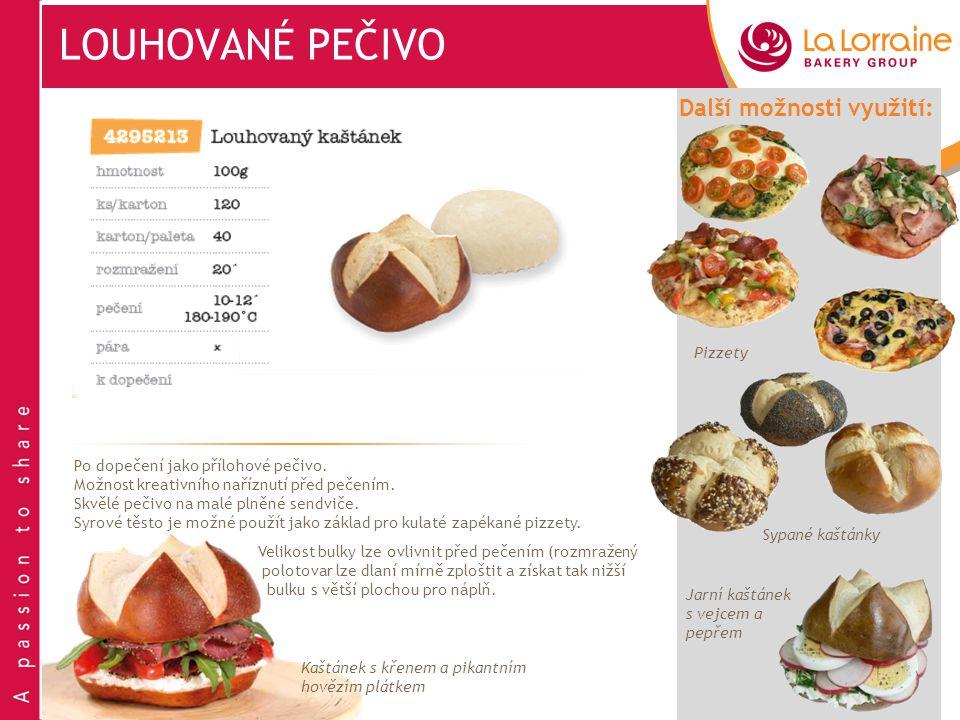 LOUHOVANÉ PEČIVO Další možnosti využití: Pizzety