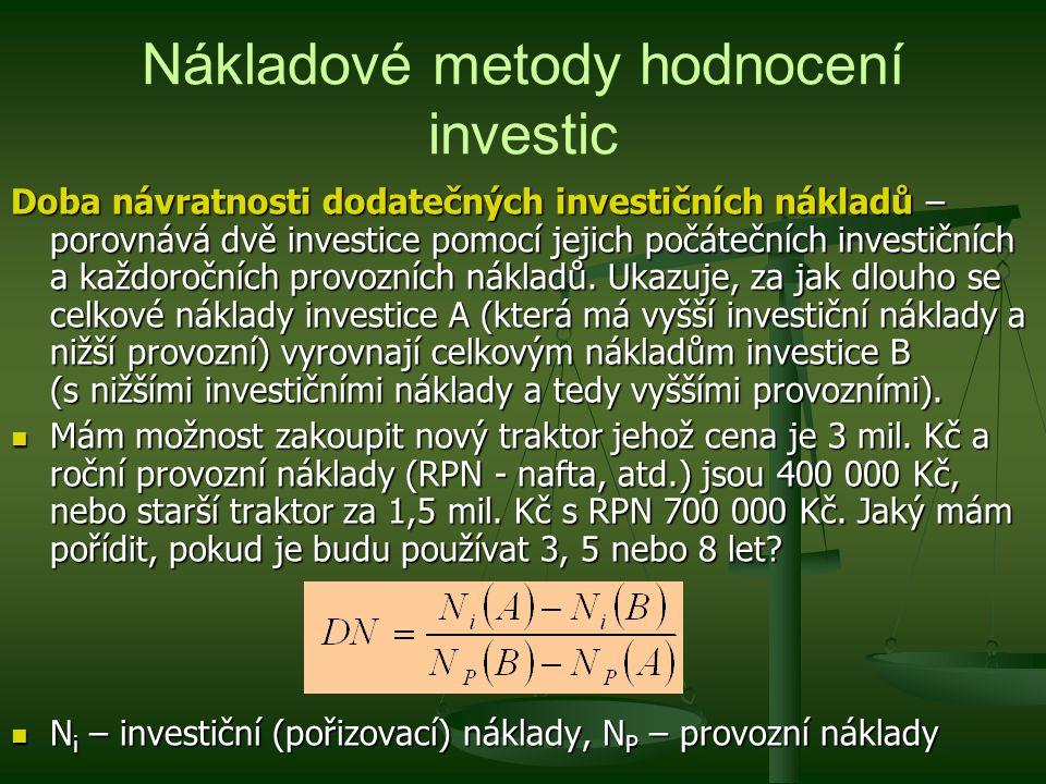 Nákladové metody hodnocení investic