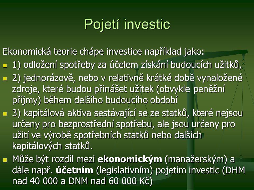 Pojetí investic Ekonomická teorie chápe investice například jako: