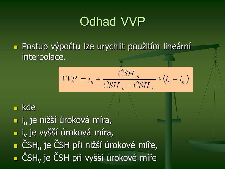 Odhad VVP Postup výpočtu lze urychlit použitím lineární interpolace.