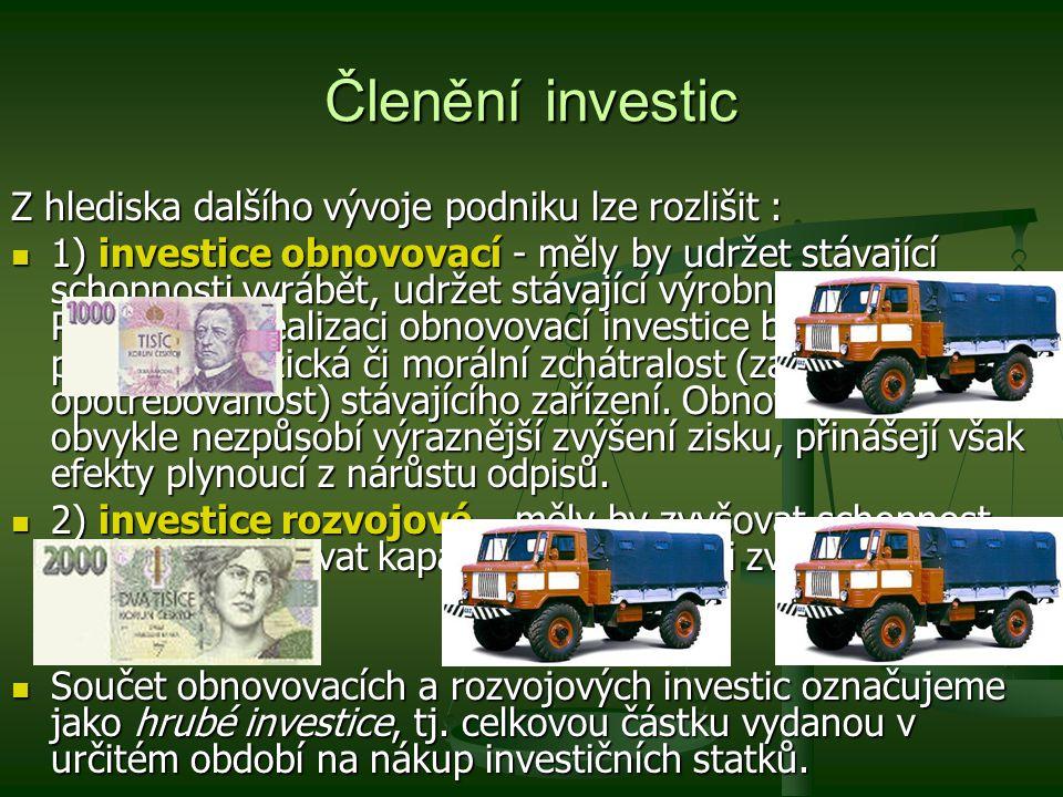 Členění investic Z hlediska dalšího vývoje podniku lze rozlišit :