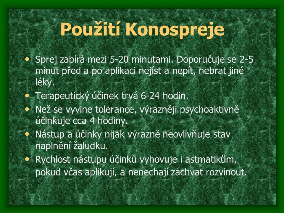 Použití Konospreje Sprej zabírá mezi 5-20 minutami. Doporučuje se 2-5 minut před a po aplikaci nejíst a nepít, nebrat jiné léky.