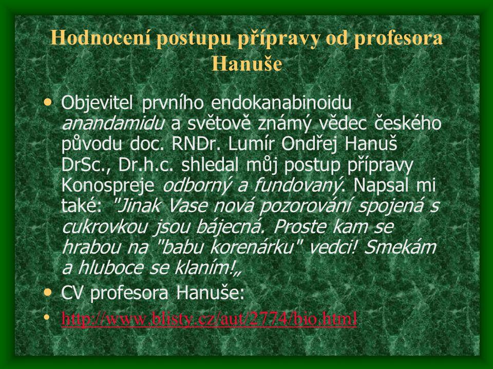 Hodnocení postupu přípravy od profesora Hanuše