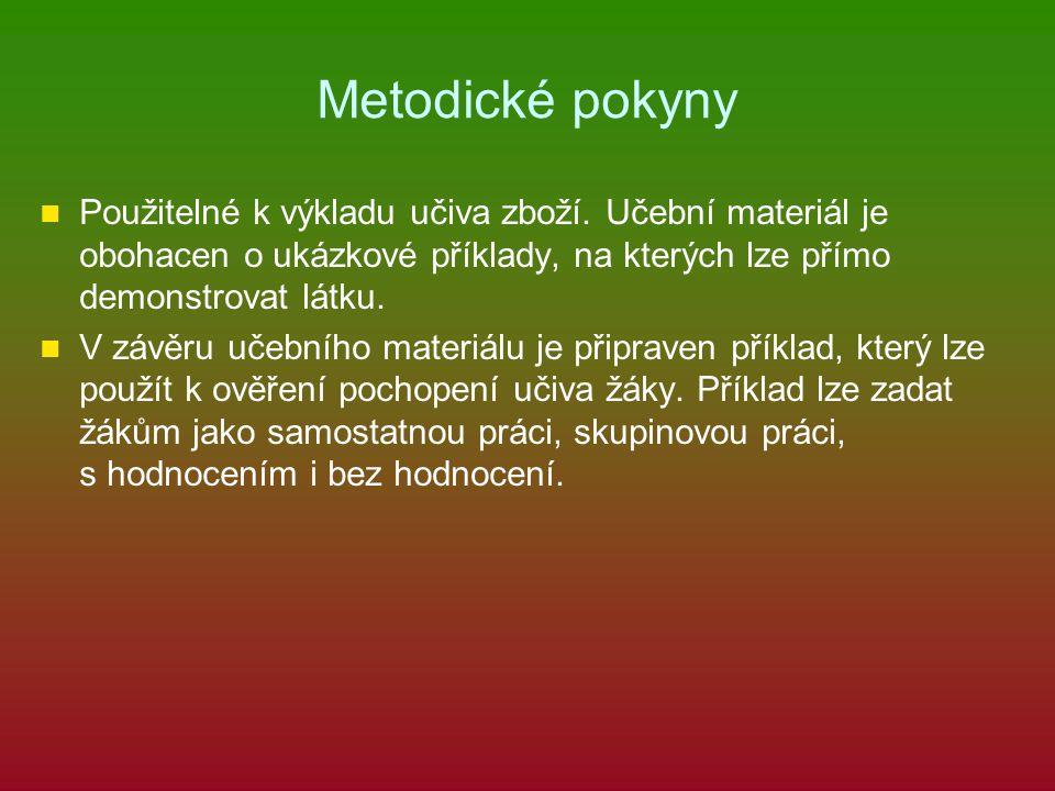 Metodické pokyny Použitelné k výkladu učiva zboží. Učební materiál je obohacen o ukázkové příklady, na kterých lze přímo demonstrovat látku.
