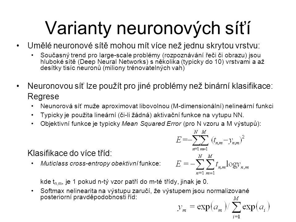 Varianty neuronových síťí