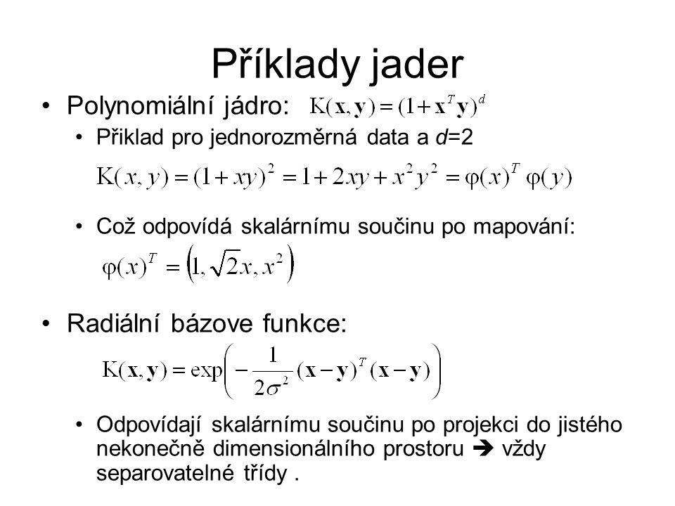 Příklady jader Polynomiální jádro: Radiální bázove funkce: