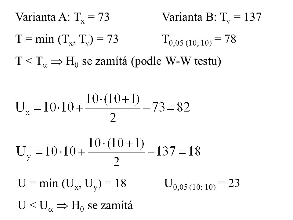 Varianta A: Tx = 73 Varianta B: Ty = 137