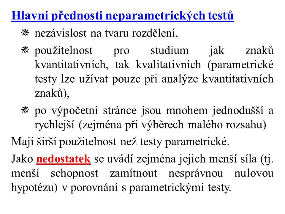 Hlavní přednosti neparametrických testů