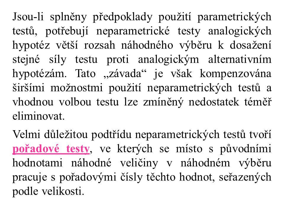 """Jsou-li splněny předpoklady použití parametrických testů, potřebují neparametrické testy analogických hypotéz větší rozsah náhodného výběru k dosažení stejné síly testu proti analogickým alternativním hypotézám. Tato """"závada je však kompenzována širšími možnostmi použití neparametrických testů a vhodnou volbou testu lze zmíněný nedostatek téměř eliminovat."""