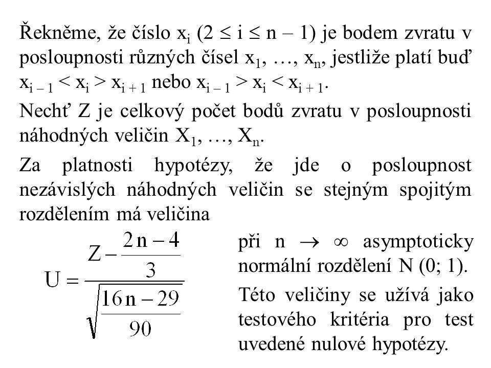 Řekněme, že číslo xi (2  i  n – 1) je bodem zvratu v posloupnosti různých čísel x1, …, xn, jestliže platí buď xi – 1 < xi > xi + 1 nebo xi – 1 > xi < xi + 1.