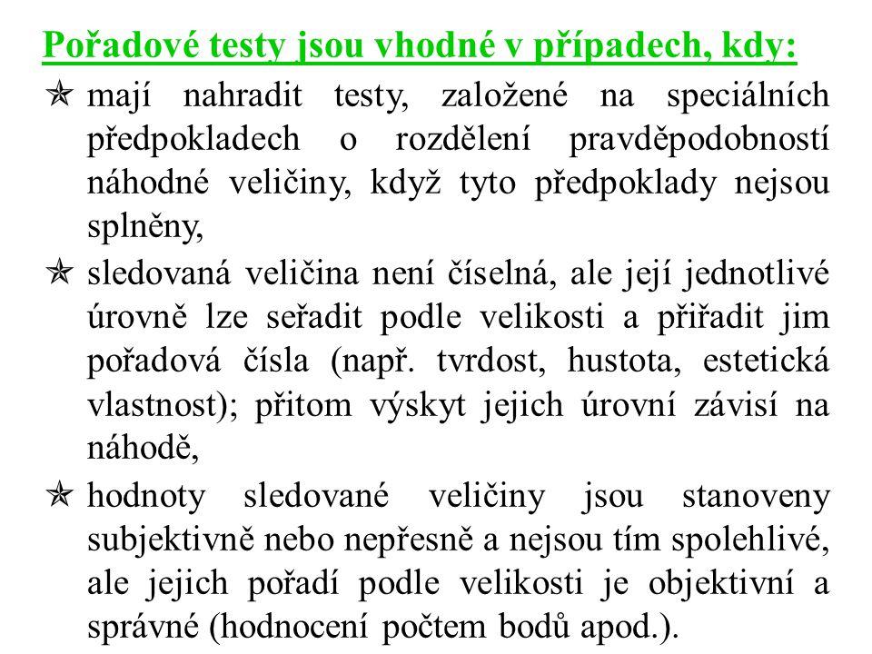 Pořadové testy jsou vhodné v případech, kdy: