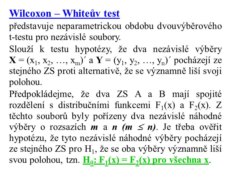 Wilcoxon – Whiteův test