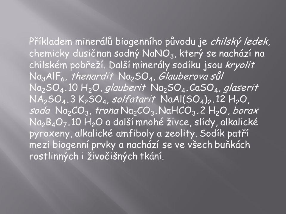 Příkladem minerálů biogenního původu je chilský ledek, chemicky dusičnan sodný NaNO3, který se nachází na chilském pobřeží.