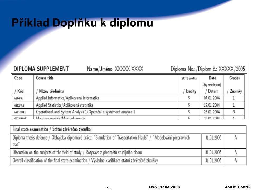 Příklad Doplňku k diplomu
