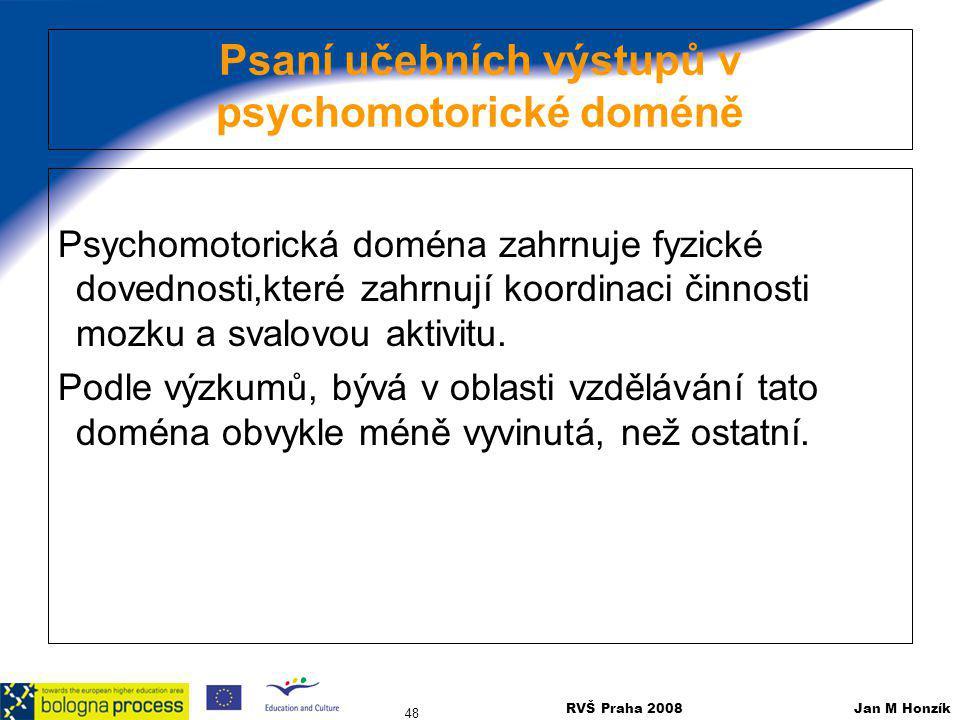 Psaní učebních výstupů v psychomotorické doméně
