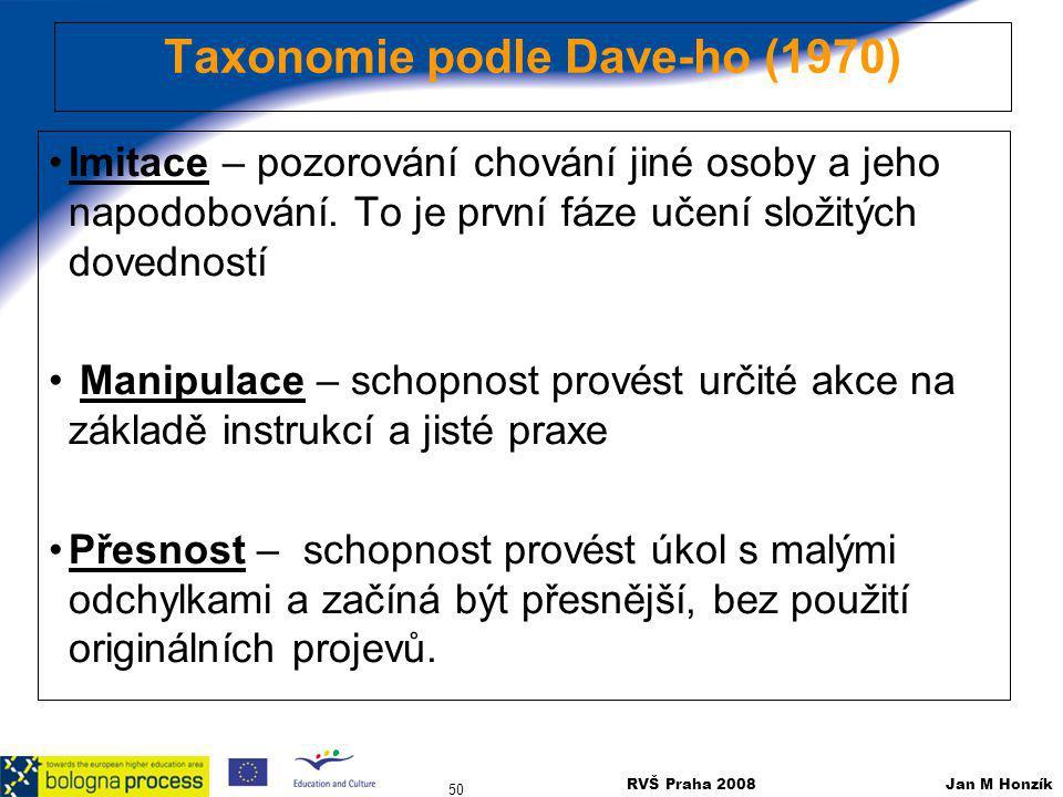 Taxonomie podle Dave-ho (1970)
