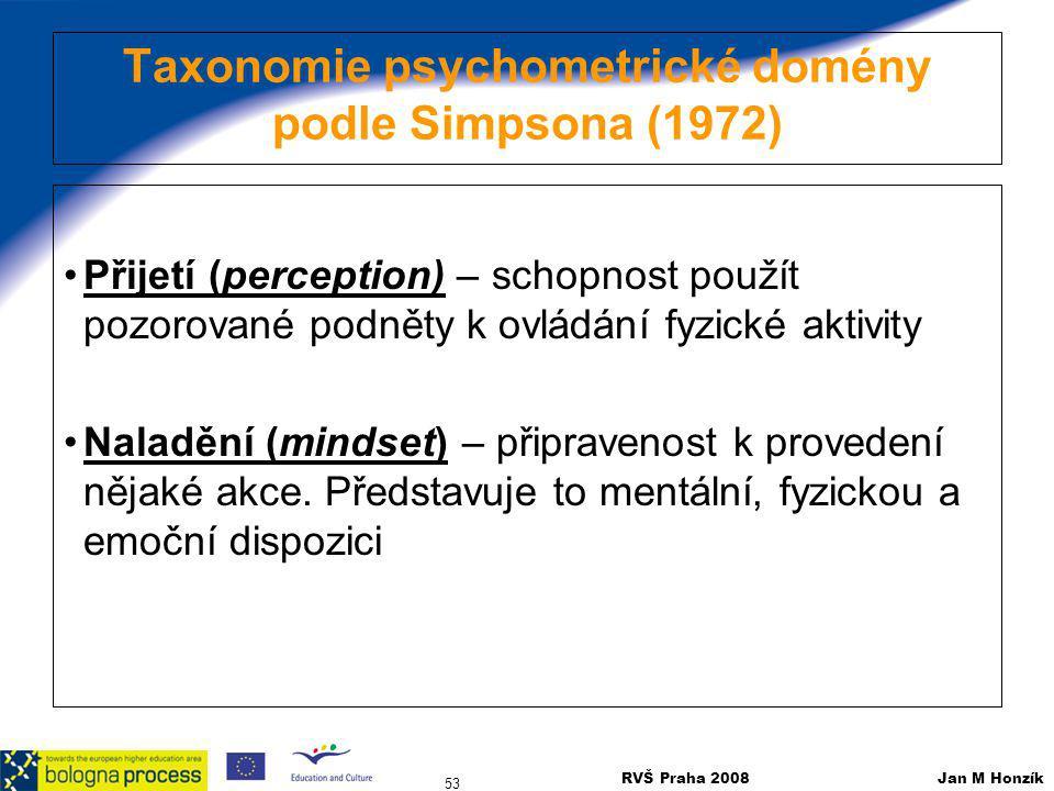 Taxonomie psychometrické domény podle Simpsona (1972)