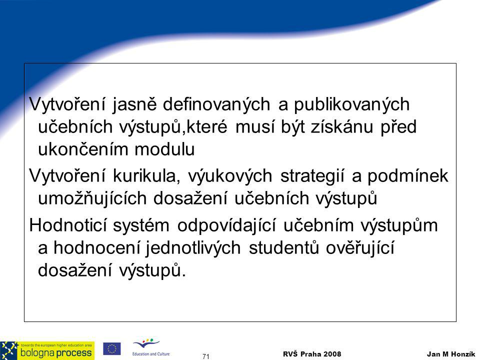 Vytvoření jasně definovaných a publikovaných učebních výstupů,které musí být získánu před ukončením modulu